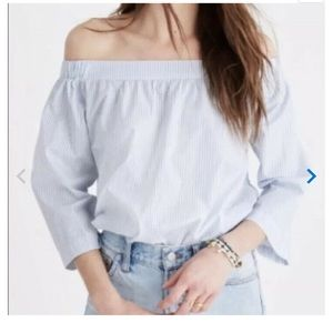 Madewell Blue White Stripe Off Shoulder Top M